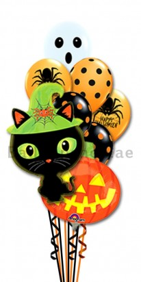 Halloween Cat and Pumpkin Balloon Bouquet