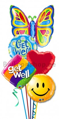 Big Butterfly Get Well Balloon Bouquet