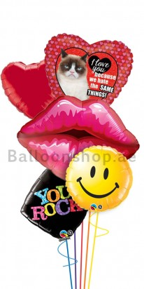 Grumpy Cat Birthday Love (Red Lips) Balloon Arrangement