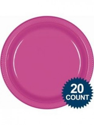 "7"" Hot Pink Normal Party Plates, (20ct)"