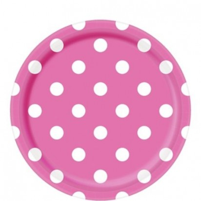 "8"" Hot Pink Dots Normal Party Plates (8ct)"
