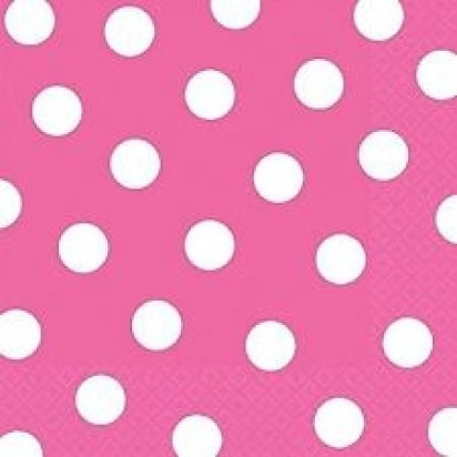 """13"""" Hot Pink Dots Luncheon Napkin (16ct, 2 ply)"""