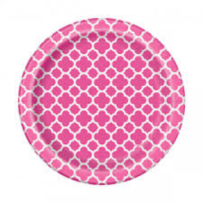 "7"" Hot Pink Quatrefoil Normal Party Plates (8ct)"