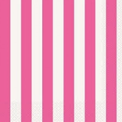 """13"""" Hot Pink Stripe Luncheon Napkin (16ct, 2 ply)"""