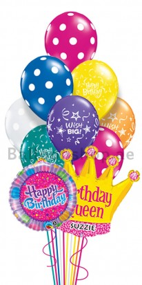 Personalized Polka Birthday Balloon Bouquet