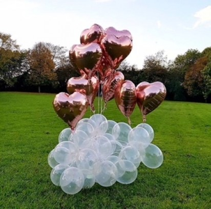 Organic Balloon Decor - 12 Rose Gold Hearts