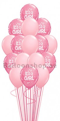 16 Balloons Baby Girl Newborn Balloon Bouquet