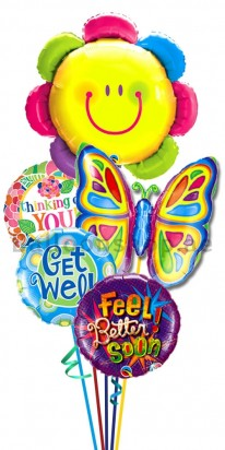 Smiley Flower and Butterfly Get Well Balloon Bouquet