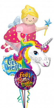 Unicorn and Fairy Get Well Balloon Bouquet