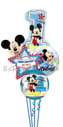 Personalized Mickey Mouse First Birthday Balloon Bouquet