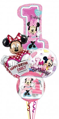 Personalized Minnie Mouse First Birthday Balloon Bouquet