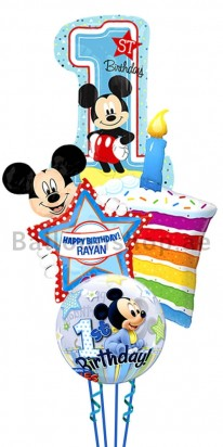 Personalized Mickey Mouse First Birthday Balloon Cake Bouquet