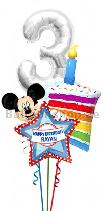 Personalized Any Age Mickey Mouse Birthday Cake Balloon Bouquet
