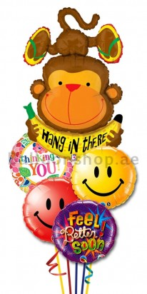 Happy Monkey Get Well Balloon Bouquet