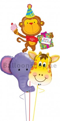 Jumbo Jungle Animals Birthday Balloon Bouquet