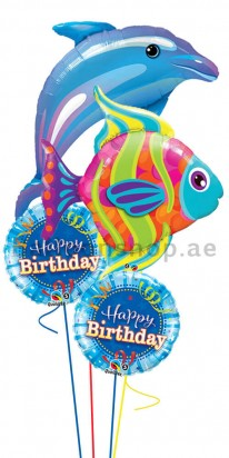 Jumbo Sea Creatures Birthday Balloon Bouquet
