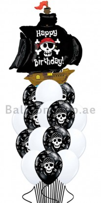 Birthday Pirates Black and White Balloon Bouquet
