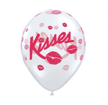 Love Kisses Transparent Latex Helium Balloons