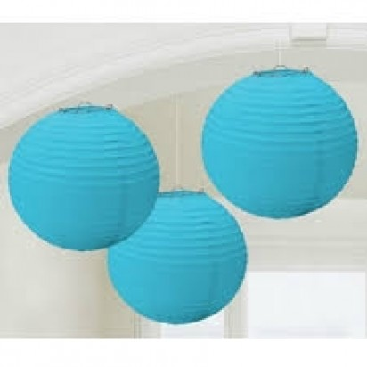 Light Blue Round Paper Lanterns, (3-PACK Cluster)