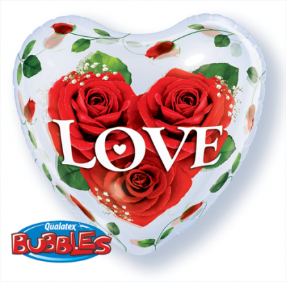 "22"" Single Heart Bubble Love Roses"