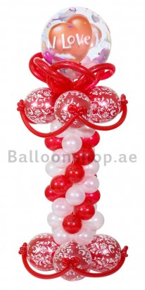 Red Love Bubble Love Balloon Column
