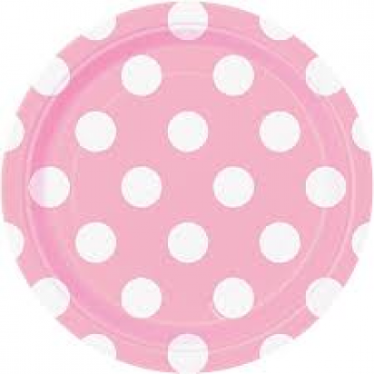 "8"" Lovely Pink Dots Normal Party Plates (8ct)"
