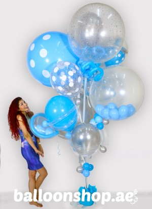 Warm Blue Bouquet Super Sized Balloon Bouquet