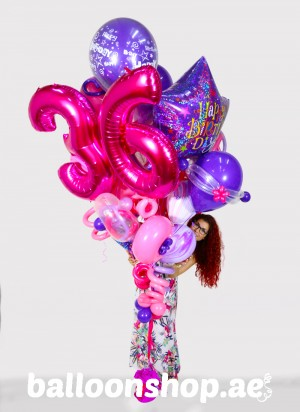 Any Age Pink Madness Super Sized Birthday Balloon Bouquet