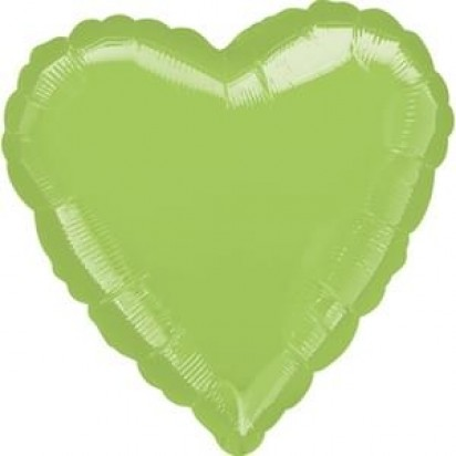 "18"" Metallic Lime Green Heart Helium Foil Balloon"
