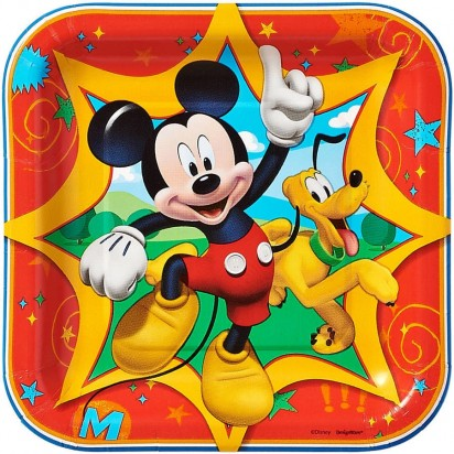 "7"" Party Mickey Mouse Character Plates (8 pcs.)"