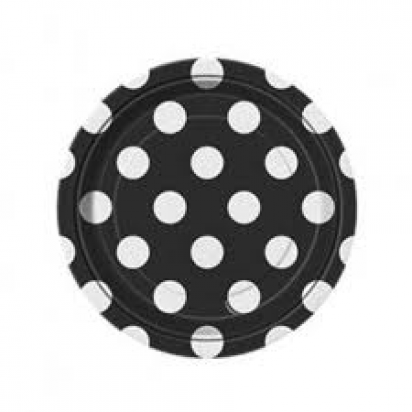 "7"" Midnight Black Dot Normal Party Plates (8ct)"