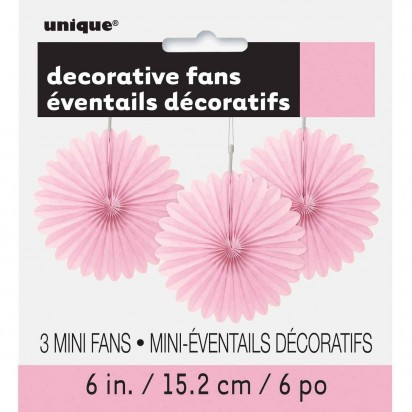 Decorative Fans Soft Pink Hanging Decorations (3cts)