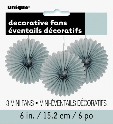 Decorative Fans Soft Silver Hanging Decorations (3cts)