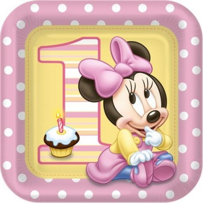 "9"" Minnie Mouse First Character Plates (8 Pcs.)"