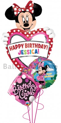 Personalized Disney Minnie Mouse Birthday Balloon Bouquet