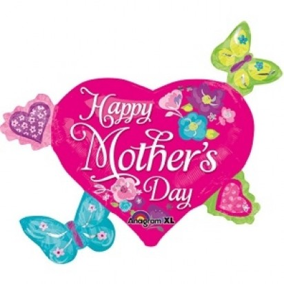 "30"" Hearts and Butterflies Mother's Day Helium Foil Balloons"