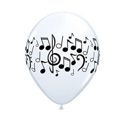 "11"" Musical Notes Helium Printed Latex Balloon"
