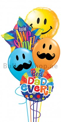 Super Dad with a Mustache (My Hero) Balloon Arrangement