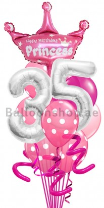 Any Age Pink Princess Birthday Balloon Bouquet Order Now