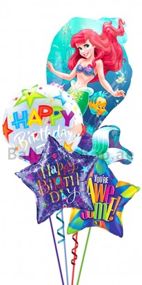 Mermaid Ariel Birthday Balloon Bouquet
