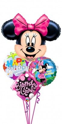 Minnie Mouse Bubble Birthday Balloon Bouquet