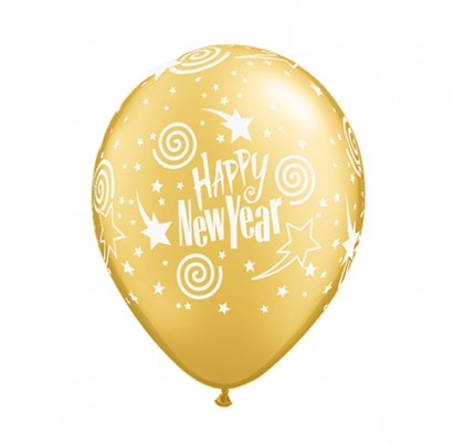 "11"" New Year Gold Helium Balloons"