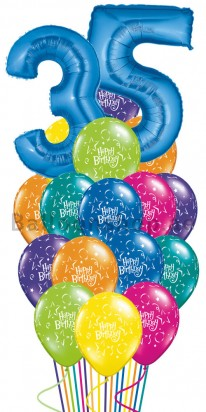 Any Age Birthday Madness Birthday Balloon Bouquet