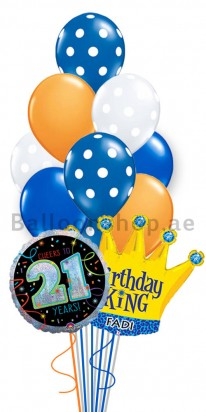 Personalized 21st Birthday Helium Balloon Bouquet