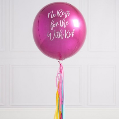 Personalized Pink Orbz Balloon With Tassle