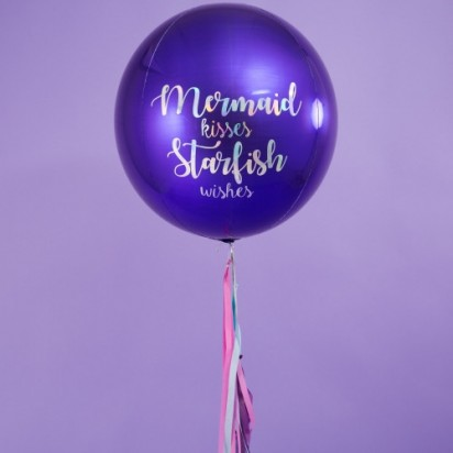 Personalized Blue Orbz Balloon with Tassle