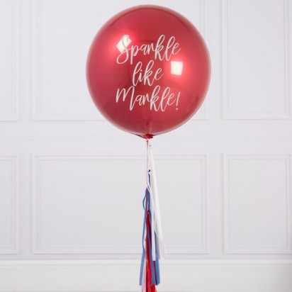 Personalized Red Orbz Balloon With Tassle