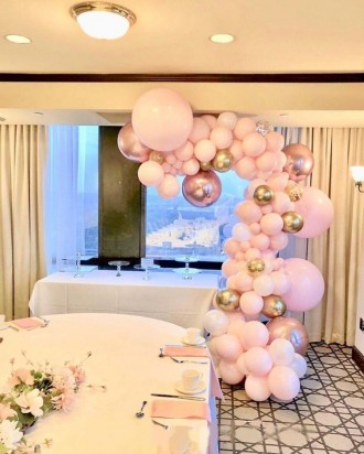 Organic Balloon Decor Pink and Gold Madness Arch ( 4 meters )