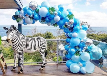 Organic Balloon Arch - Blue and Silver Madness ( 5 meters)