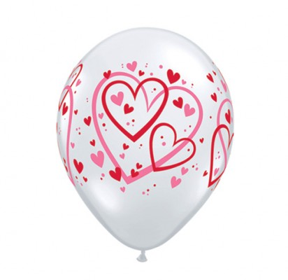 "11"" Red and Pink Hearts Helium Balloons"